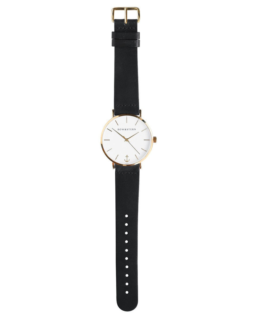 Gold Plated Watch | Black Leather Strap