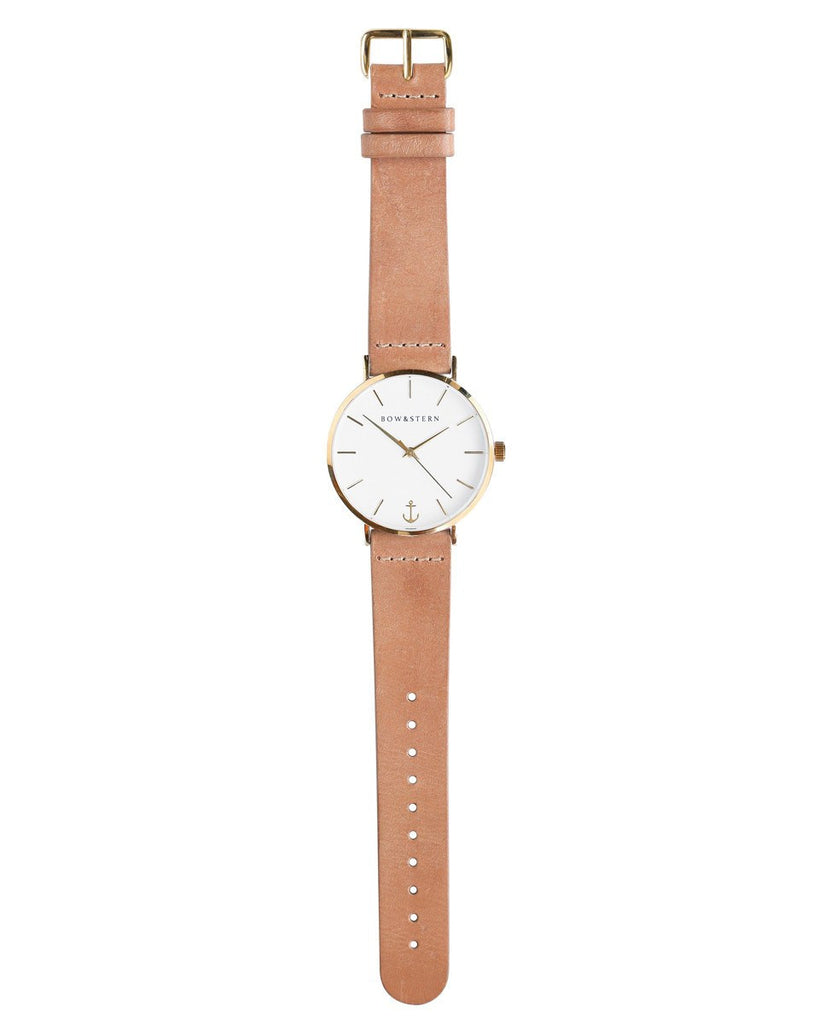 Pacifico - Gold and White Watch | Tan Leather