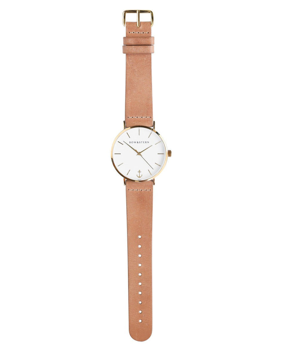 Gold Tone Watch | Tan Leather Strap