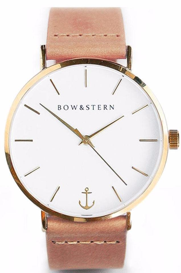 Gold Tone Watch | Tan Leather Strap - Gold Watch - AfterPay Watch - Bow and Stern Swiss Quartz Watch
