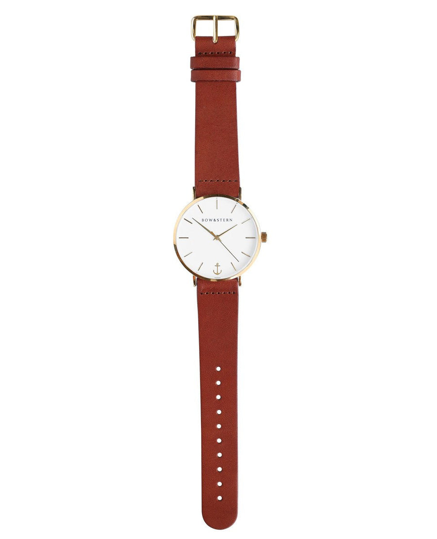 Gold and White Watch | Brown Leather Strap