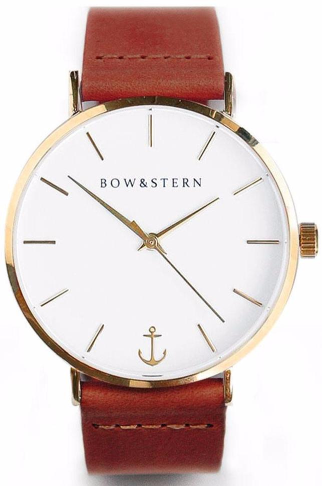 Gold and White Watch | Brown Leather Strap - Gold Watch - AfterPay Watch - Bow and Stern Swiss Quartz Watch
