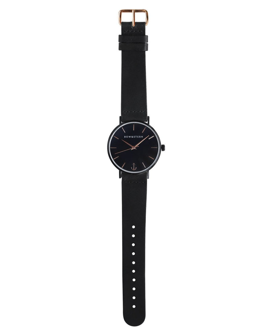 Matte Black and Rose Gold Watch | Black Leather Strap