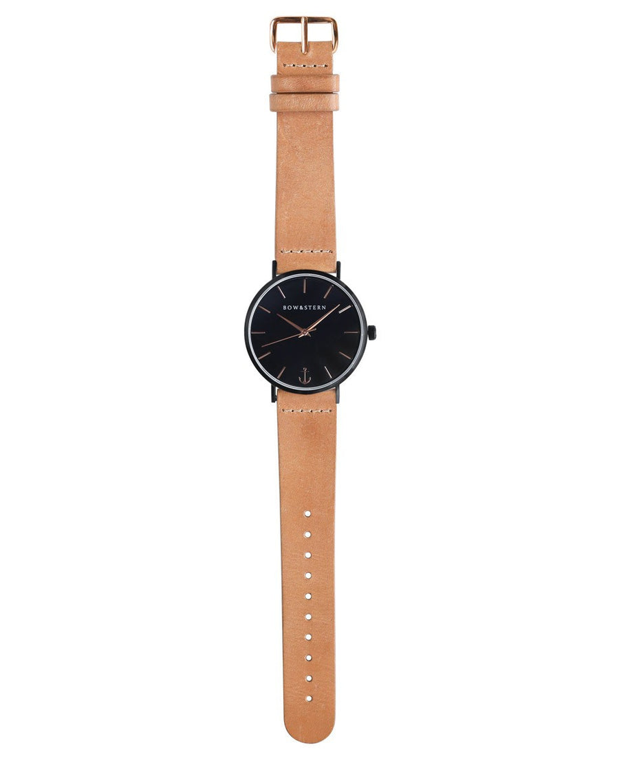 Matte Black and Rose Gold Watch | Tan Leather Strap