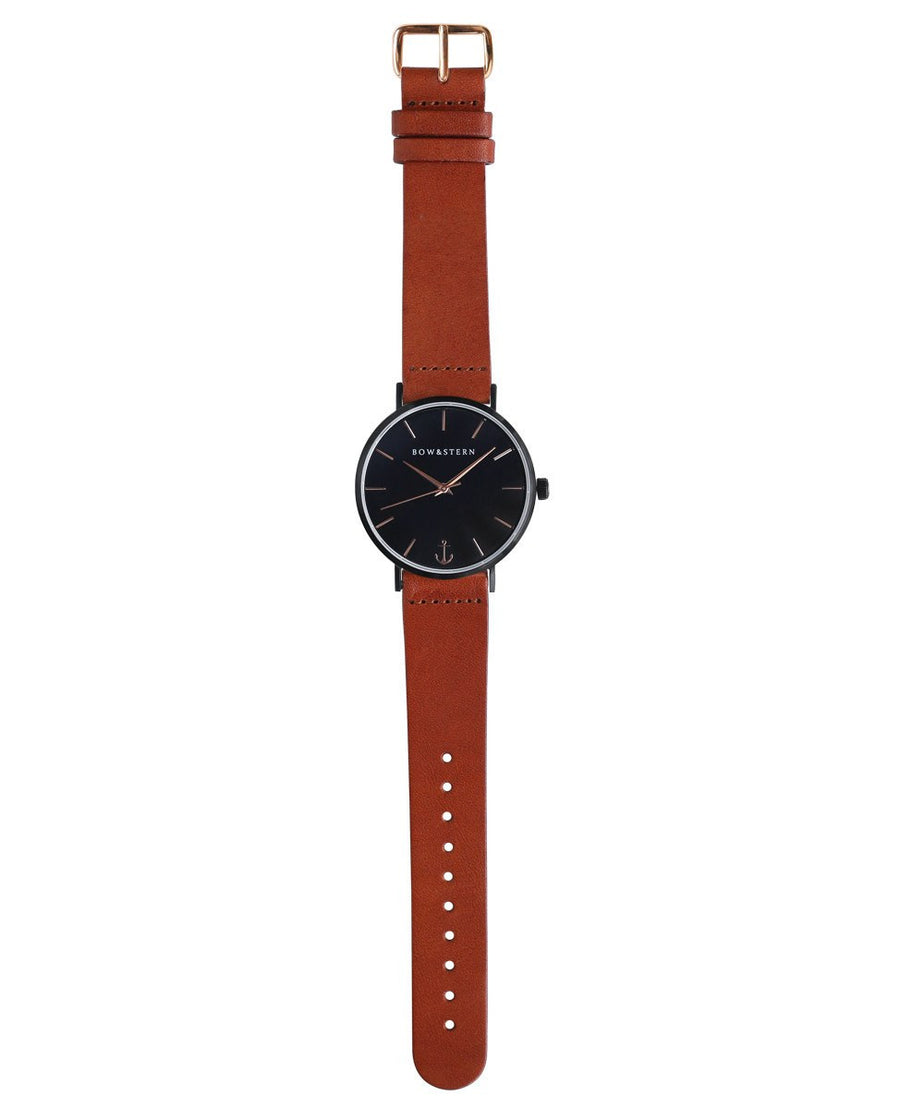 Matte Black and Rose Gold Watch | Brown Leather Strap