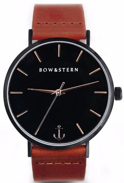 Tempest - Matte Black and Rose Gold Watch | Brown Leather