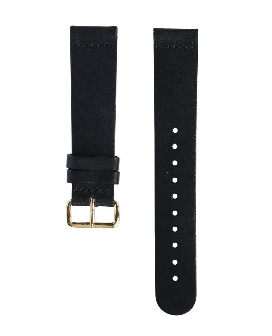 Black Leather Band - Gold Buckle