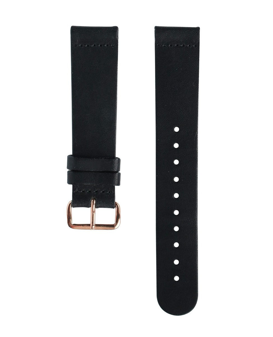 Black Leather Band - Rose Gold Buckle