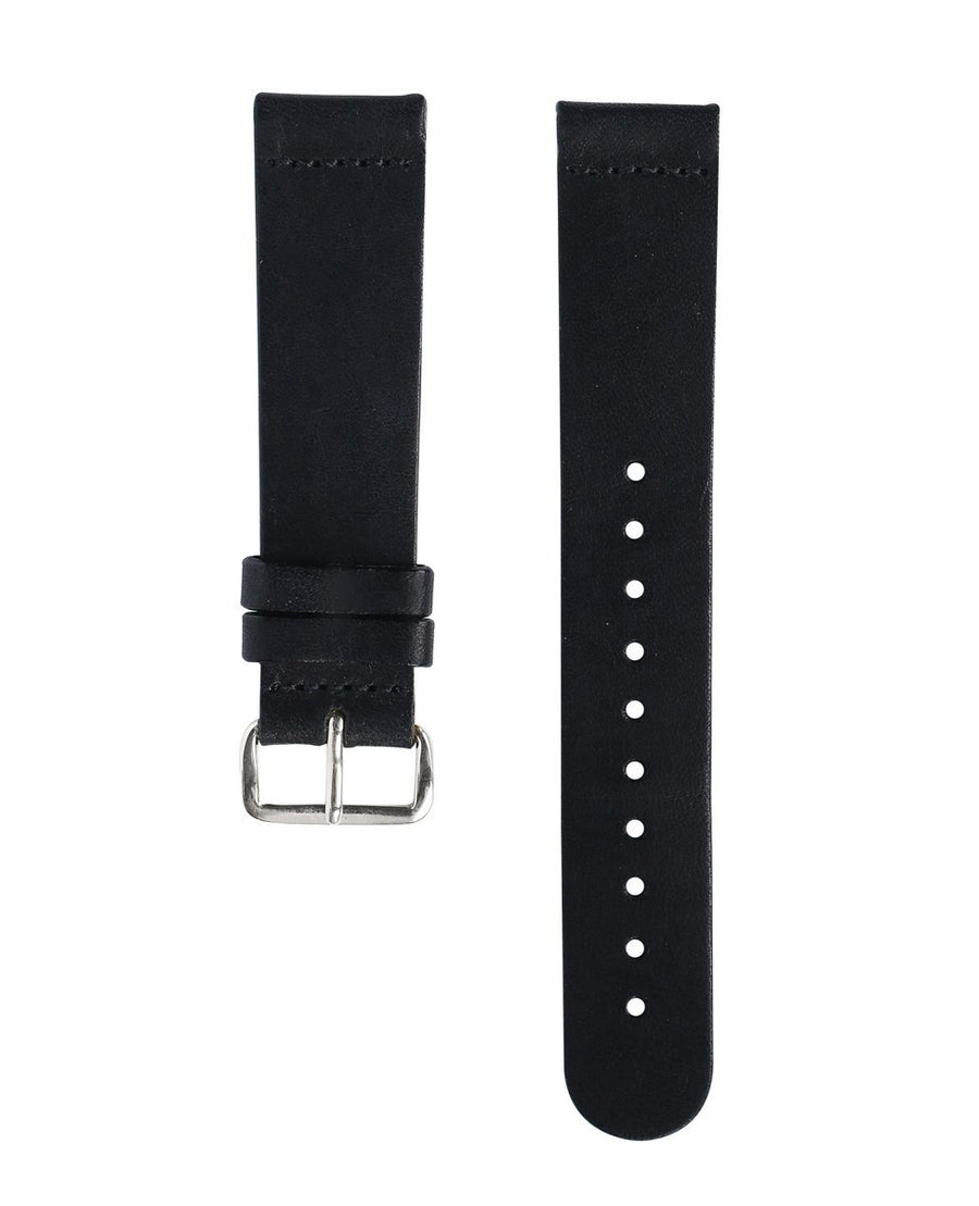 Black Leather Band - Silver Buckle