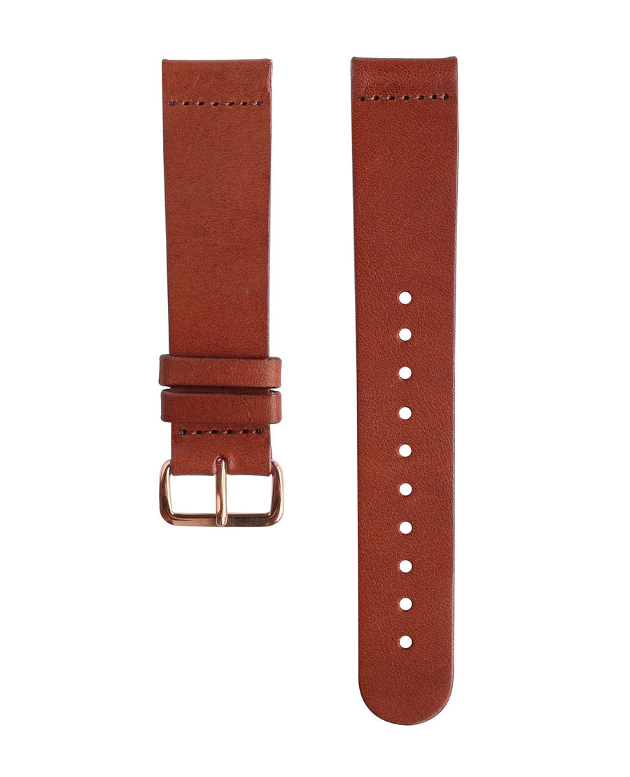 Brown Leather Band - Rose Gold Buckle