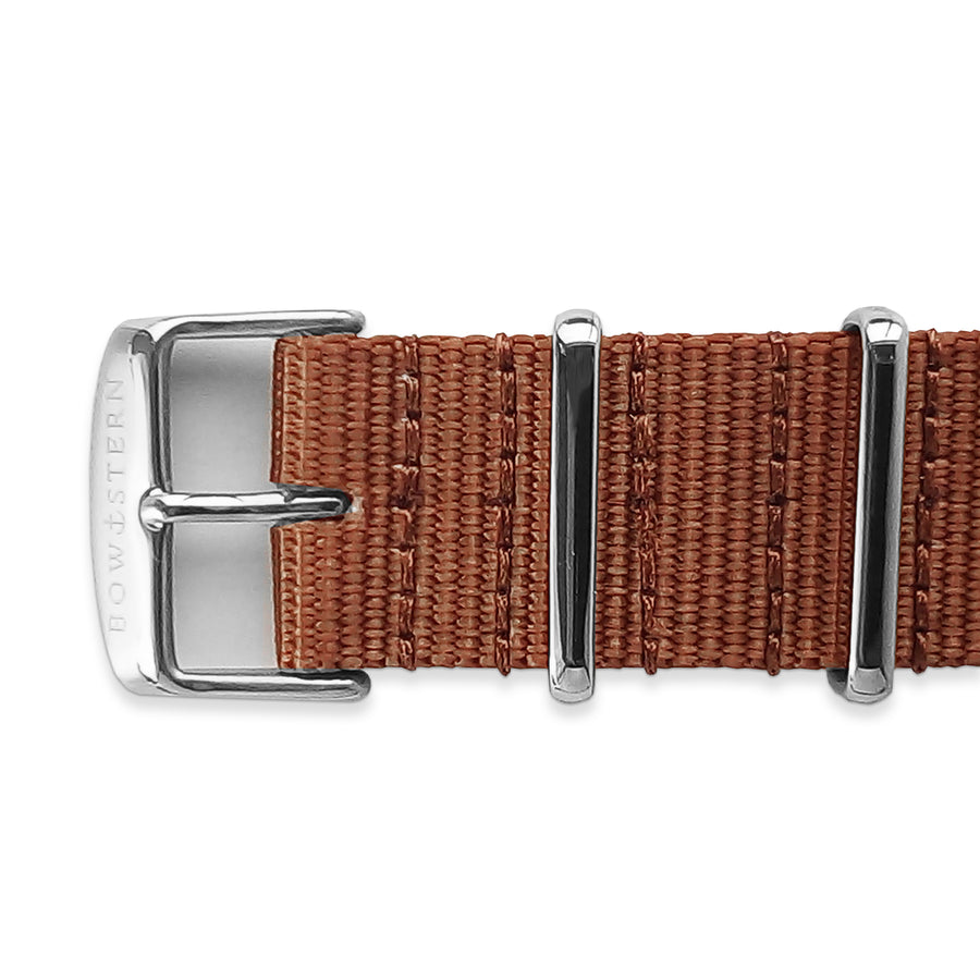 Camel Tan Nato Strap - Polished Silver Buckle