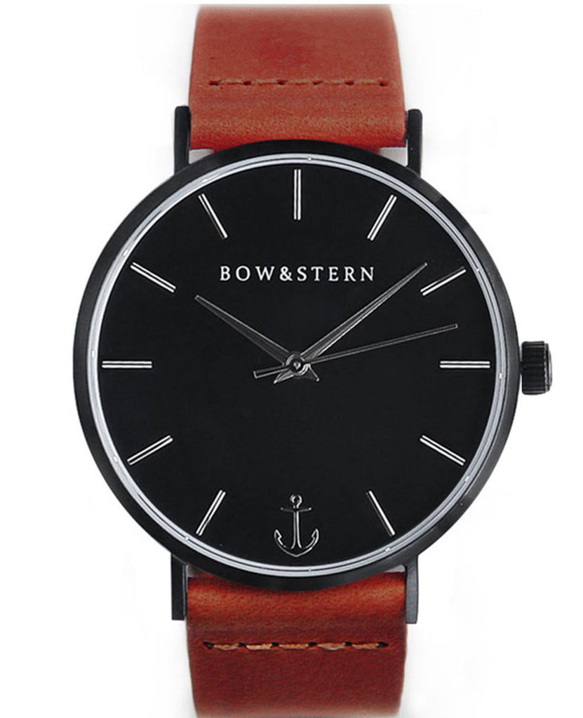 Matte Black and Silver Watch | Brown Leather Strap - AfterPay Watch - Bow and Stern Swiss Quartz Watch
