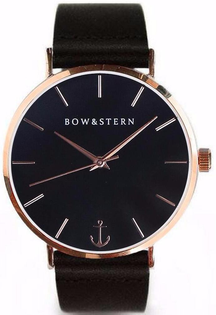 Rose Gold and Black Watch | Black Leather Strap - AfterPay Watch - Bow and Stern Swiss Quartz Watch
