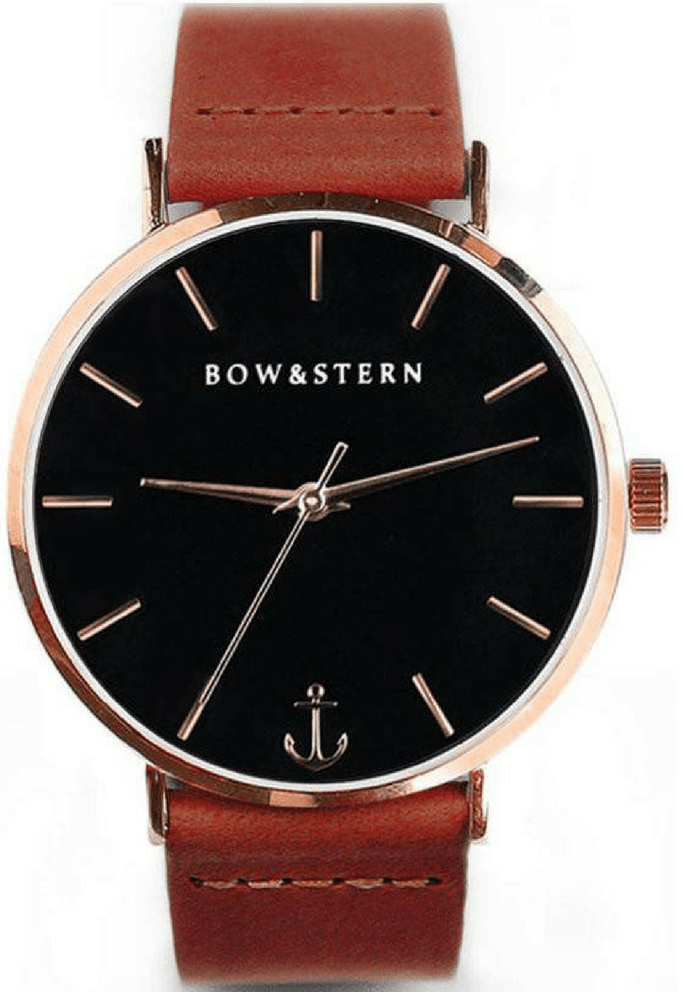 Rose Gold and Black Watch | Brown Leather Strap