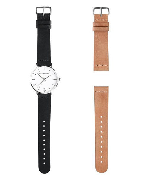 Silver and White Watch | Black Leather Strap - Silver Watch - AfterPay Watch - Bow and Stern Swiss Quartz Watch