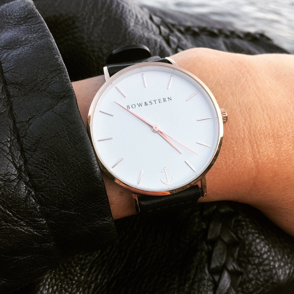 Womens Rose Gold and White Watch | Black Leather Strap