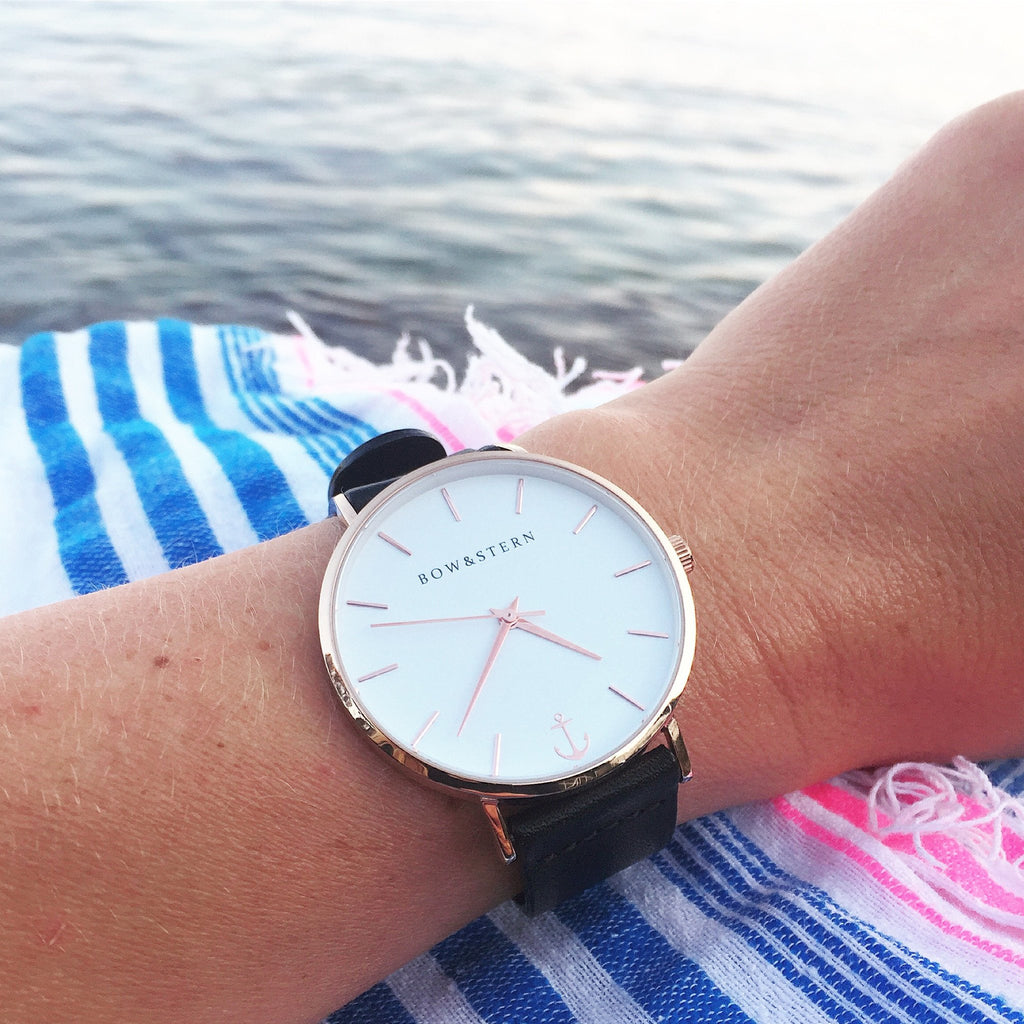 Ladies Rose Gold and White Watch | Black Leather Strap