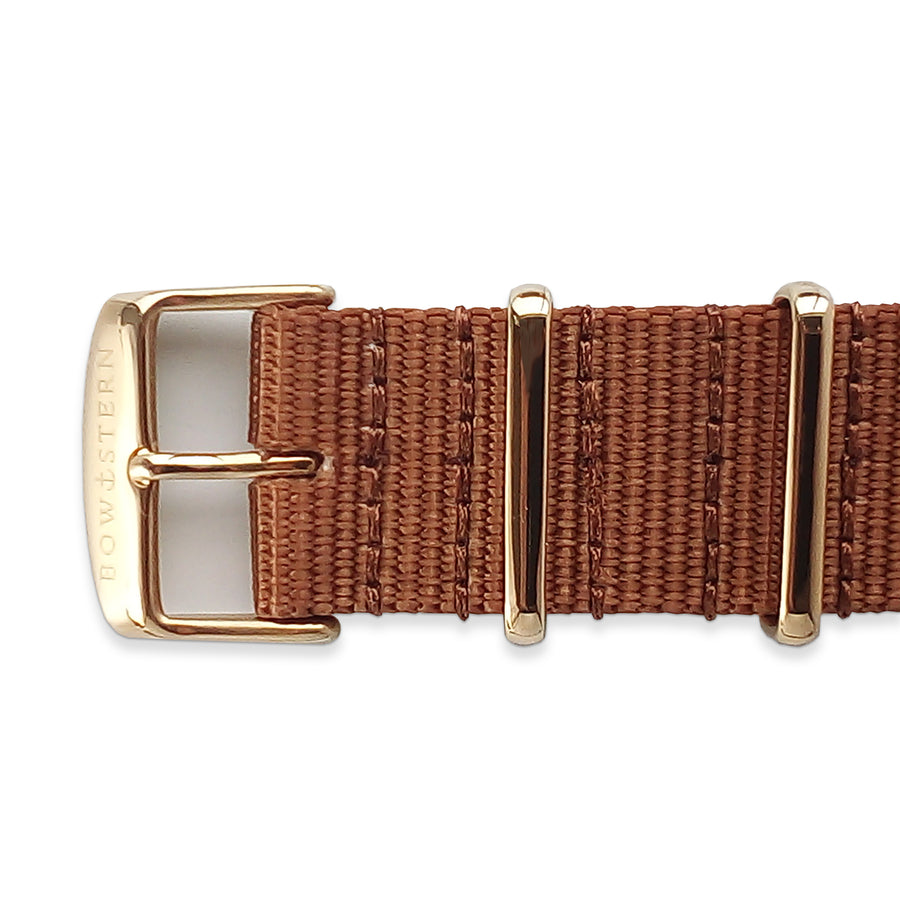 Camel Tan Nato Strap - Polished Gold Buckle