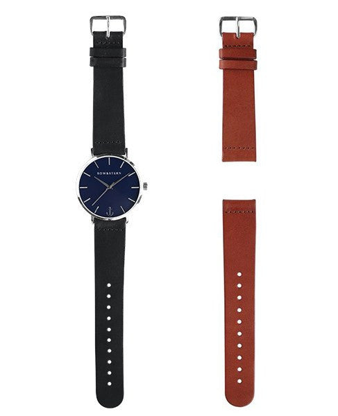 Silver and Blue Watch | 2 Band Combo - Silver Watch - Navy Watch - AfterPay Watch - Bow and Stern Swiss Quartz Watch