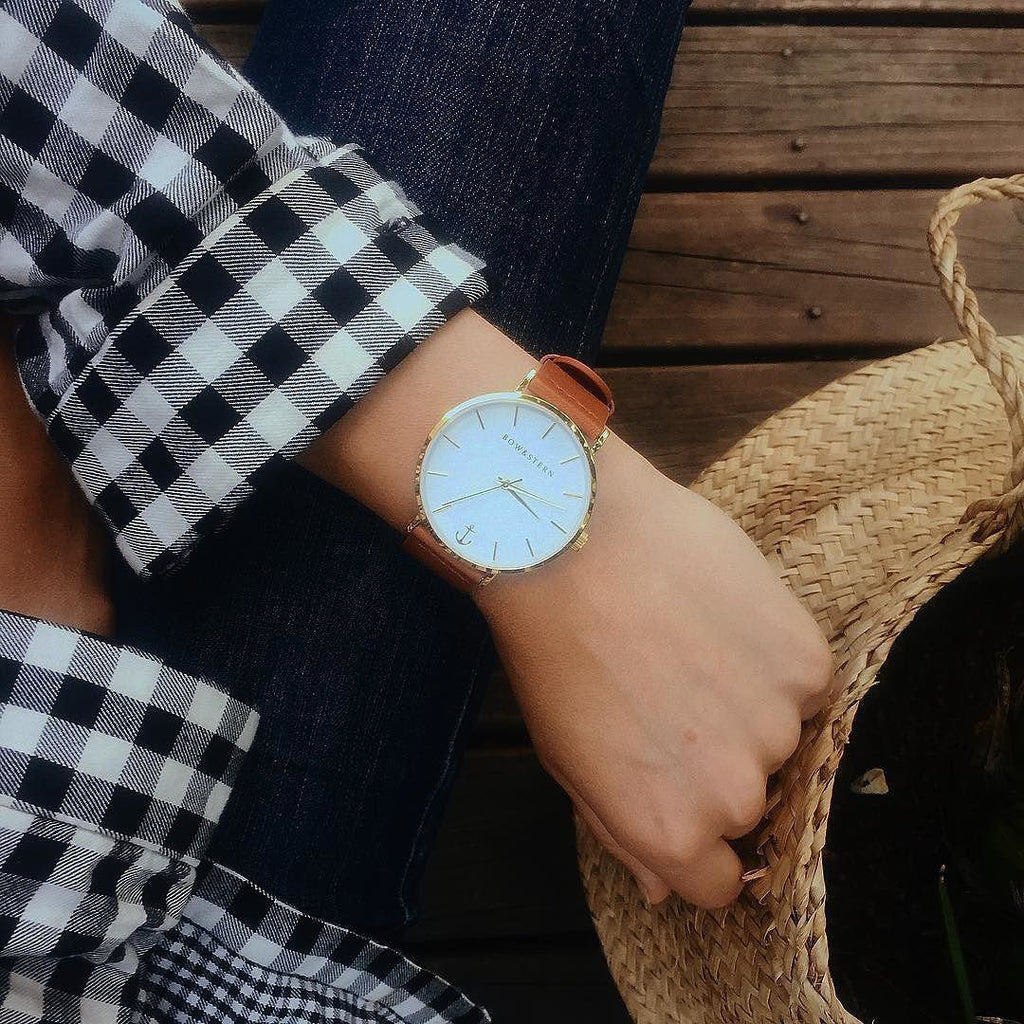 Womens Gold Plated Watch | Brown Leather Strap