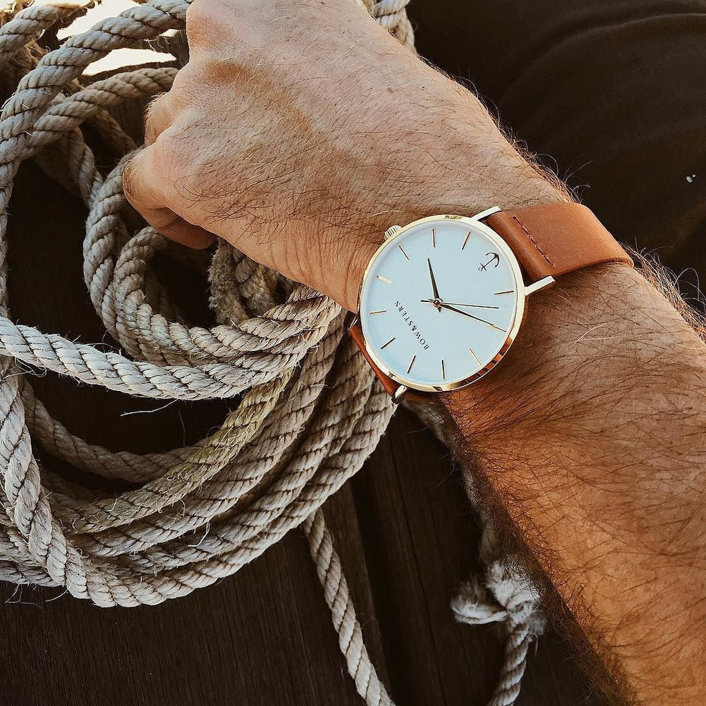 Mens Gold Plated Watch | Brown Leather Strap