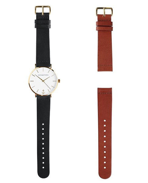 Pacifico - Gold and White Watch | 2 Band Combo