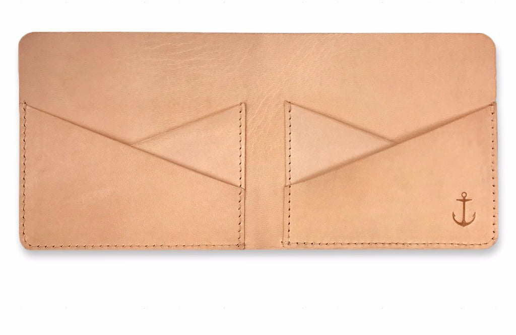 Mens Tan Leather Bifold wallet - Bow and Stern