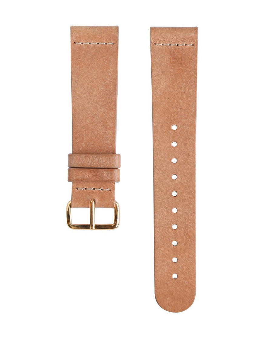 Tan Leather Band - Gold Buckle