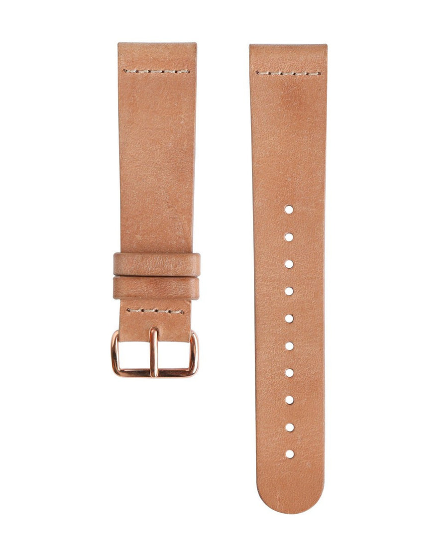 Tan Leather Band - Rose Gold Buckle