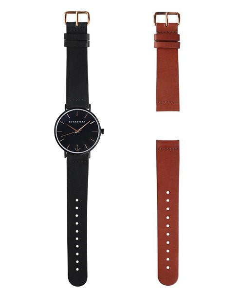 Matte Black watch with Rose Gold - AfterPay Watch - Bow and Stern Swiss Quartz Watch