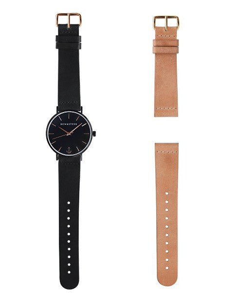 Tempest - Matte Black and Rose Gold Watch | 2 Band Combo