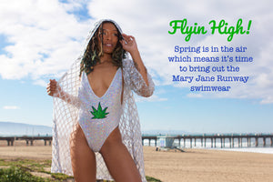 "Mary Jane Runway ""Bling Queen"" Pot Leaf Swimsuit"