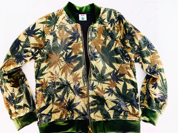 "Camouflage Cannabis Sequins Jacket ""Unisex"""