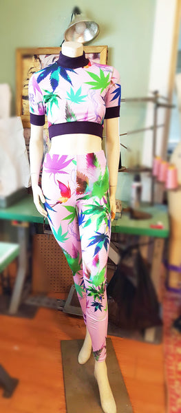 2 Piece Cannabis Crop Top Legging Set
