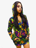 Marijuana Black Cannabis Hoodie Dress