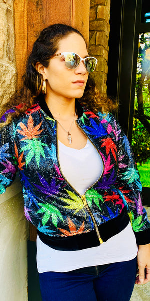 Cannabis Leaves Sequins Jacket