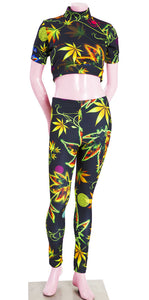 Weed Print Crop Top Legging Set