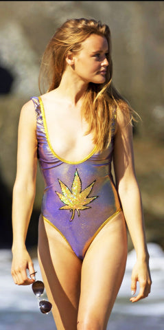 Gold Marijuana Leaf Iridescent Swimsuit