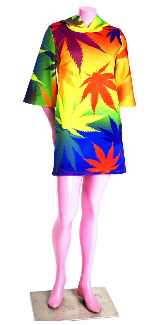 Rainbow Weed Hoodie Dress