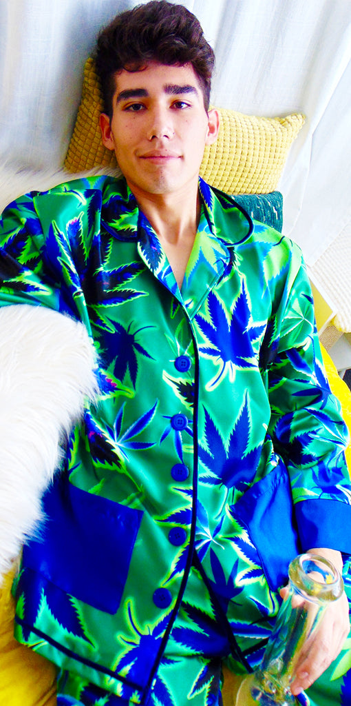 Mary Jane Runway Marijuana Satin Pajamas