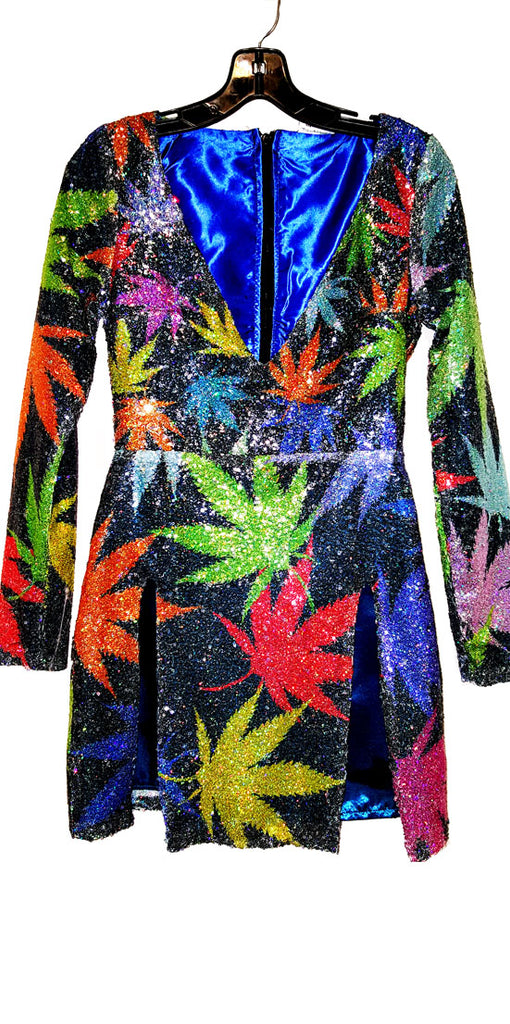 Mary Jane Runway Sequins Leaf Dress