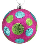 Ornament Ball - Glitter Polka Dot Ball - Fuchsia with Lime Green and Turquoise