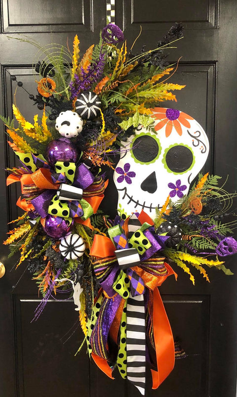 Sugar Skull Oval Wreath