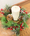 "12"" Frosted Pine Ice Berry Candle Ring"