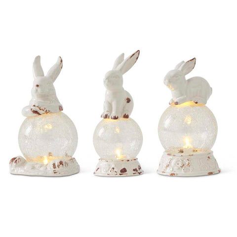 Ceramic Bunny on Lighted Globe