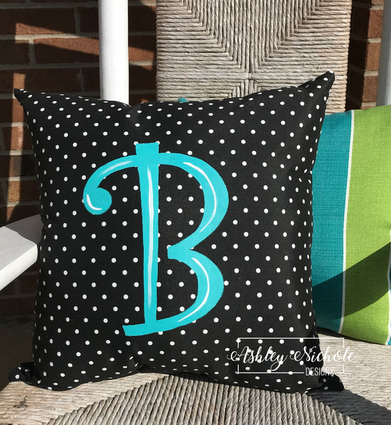 "18"" Custom - Initial Pillow Black/White Dot"