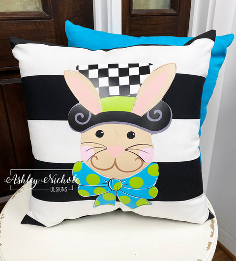 "18"" Custom-Checkered Top Hat Bunny Pillow"