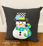 "18"" Custom - Snowman - Checkered BOY Version - Pillow"