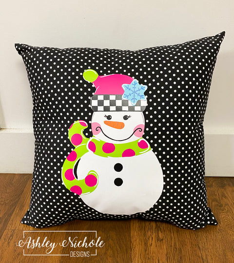 "18""  Custom - Snowman - Checkered GIRL Version - Pillow"