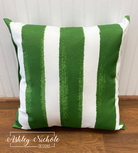 "18"" Outdoor Pillow-Nico Herb Green & White"